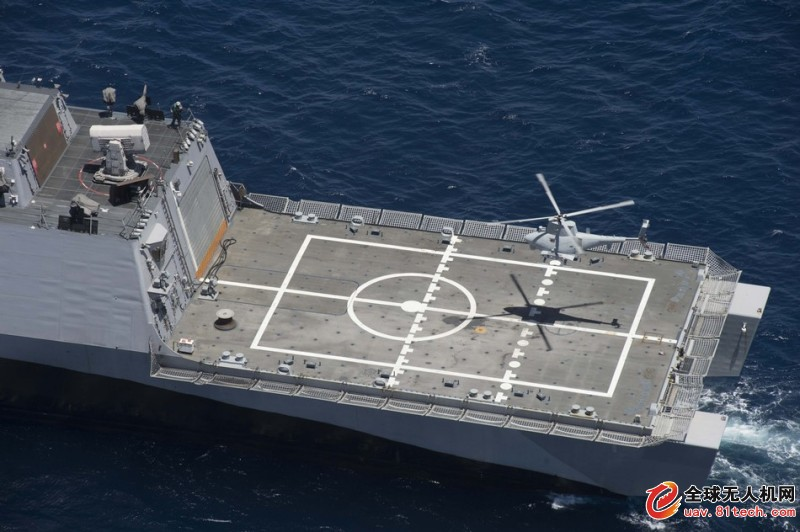 美军濒海舰搭载MQ-8B火力侦察兵舰载无人直升机