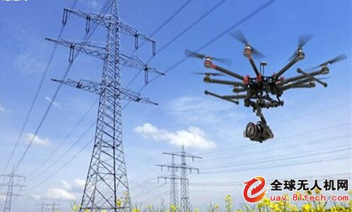 """无人机与线路接触造成了闪络,使电路""""跳闸"""",电力供应切断."""