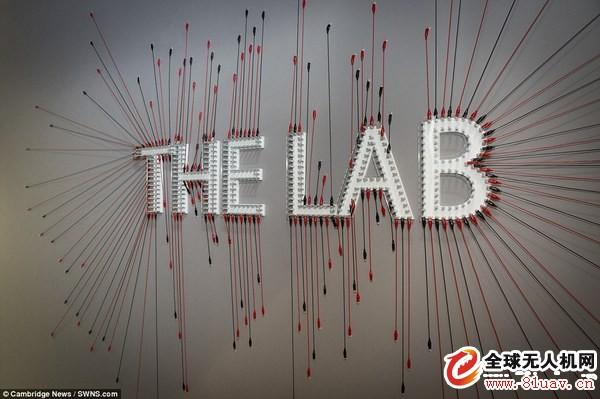用很多电路连接线装饰出实验室图标.