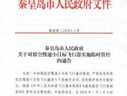"""7月1日至8月31日秦皇岛市全面禁飞""""低慢小"""""""