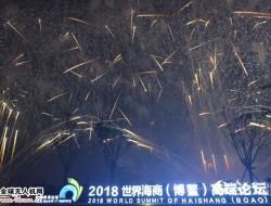 无人机表演点缀夜空助力2018世界海商(博鳌)高端论坛举行